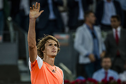 May 9, 2017 - Madrid, Madrid, Spain - ALEXANDER ZVEREV (GER) celebrates his victory over Fernando Verdasco (ESP) in round 1 of the 'Mutua Madrid Open' 2017. Zverev won 7:5, 6:3 (Credit Image: © Matthias Oesterle via ZUMA Wire)