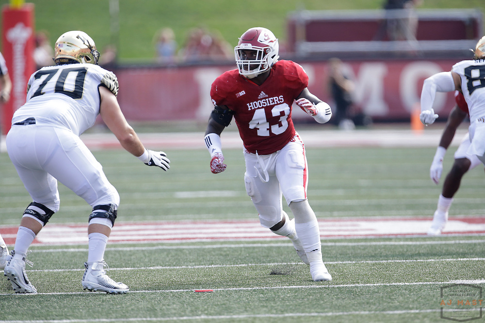 Indiana linebacker Dameon Willis Jr. (43) as Wake Forest played Indiana in an NCCA college football game in Bloomington, Ind., Saturday, Sept. 24, 2016. (AJ Mast)