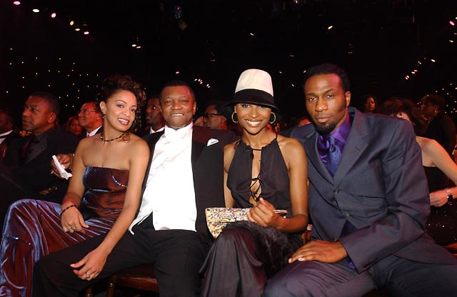 Butch Banks with an unidentified guest, model Cynthia Bailey,  and Leon, before the BET Walk of Fame show Honoring Stevie Wonder.