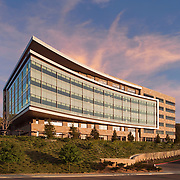 Architects Hanna Gabriel Wells designed the Medimpact Healthcare Systems HQ in San Diego in 2010. The project is sited between Interstate 15 to the west and a small waterfall immediately east of the driveway. The curved curtain wall looks west down the Penasquitos watershed toward the coast.