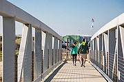 Visitors on The Pier at Bolsa Chica Wetlands in Huntington Beach