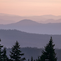 The distant, layered hills surrounding Crater Lake.