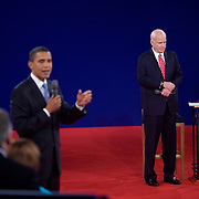 Republican presidential nominee Sen. John McCain and Democratic presidential nominee Sen. Barack Obama take part in their second presidential debate at Belmont University in Nashville, Tennessee (TN) Tuesday, October 7, 2008.  ..Photo by Khue Bui