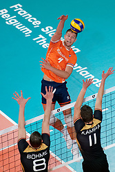 21-09-2019 NED: EC Volleyball 2019 Netherlands - Germany, Apeldoorn<br /> 1/8 final EC Volleyball / Thijs Ter Horst #4 of Netherlands
