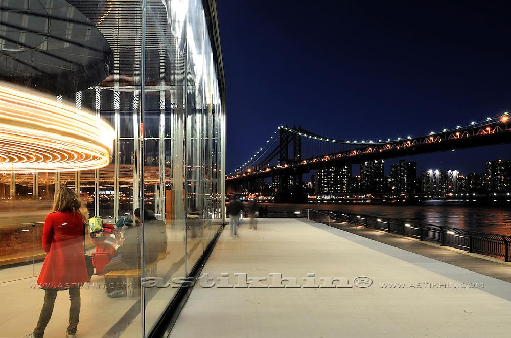 Empire Fulton Ferry Park, Jane's Carousel and Manhattan Bridge.