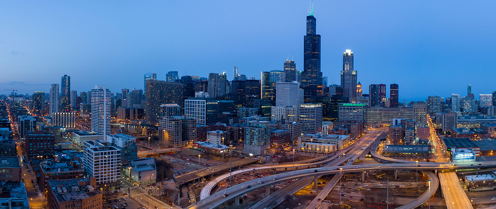Chicago Loop Drone Aerial View from UIC/Halstead