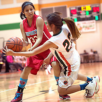 020315      Cayla Nimmo<br /> <br /> Wingate Lady Bear Brittany Payton (22) knocks the ball out of the hands of Shiprock Lady Chieftain Chamika Begaye (33) and during the Tuesday night game in Wingate.