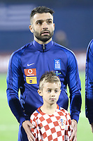 ZAGREB, CROATIA - NOVEMBER 09:  Portrait of Giorgos Tzavellas of Greece controls the ball during the FIFA 2018 World Cup Qualifier play-off first leg match between Croatia and Greece at Maksimir Stadium on November 9, 2017 in Zagreb, Croatia. (Sanjin Strukic/PIXSELL)
