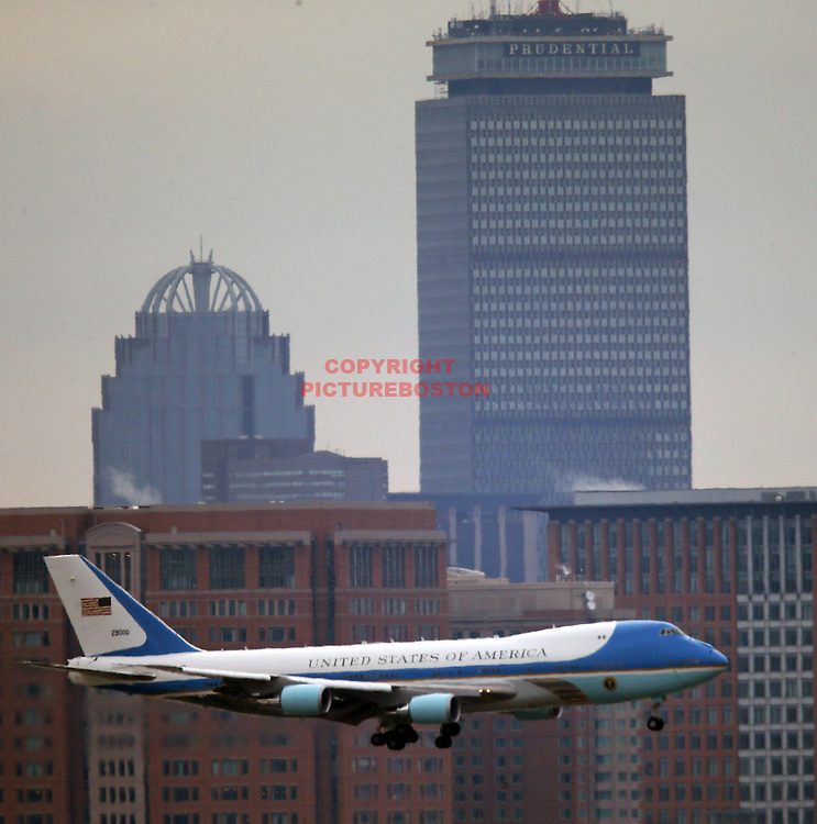 03/05/14-Boston,MA. Air Force One carrying President Barack Obama, lands at Boston's Logan airport today,March 5, 2014. Staff photo by Mark Garfinkel