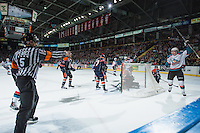 KELOWNA, CANADA - FEBRUARY 18: Lucas Johansen #7 of Kelowna Rockets celebrates his first WHL goal against the Kamloops Blazers on February 18, 2015 at Prospera Place in Kelowna, British Columbia, Canada.  (Photo by Marissa Baecker/Shoot the Breeze)  *** Local Caption *** Lucas Johansen;