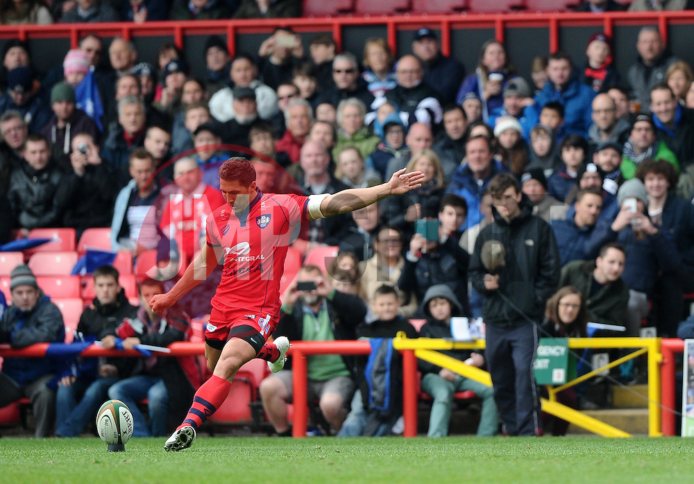 Bristol Inside Centre Gavin Henson kicks for goal  - Photo mandatory by-line: Joe Meredith/JMP - Mobile: 07966 386802 - 02/05/2015 - SPORT - Rugby - Bristol - Ashton Gate - Bristol Rugby v Rotherham - Greene King IPA Championship