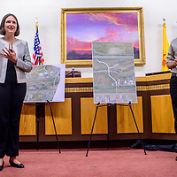 080515       Cable Hoover<br /> <br /> Jeanette Walther, left, and John Tashek present the proposed plans for the Allison corridor renovation during a public meeting at Gallup City Hall Wednesday.