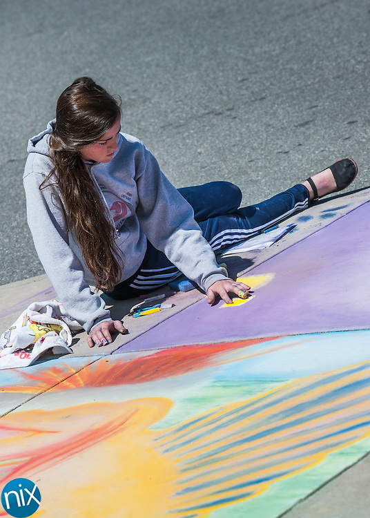 Hickory Ridge art student Julia Klein works on a chalk mural in front of the high school Thursday morning. Art students working in teams made roughly 30 murals around the school's sidewalks.