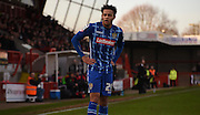 Wes Atkinson takes a breather during the Sky Bet League 2 match between Crawley Town and Notts County at the Checkatrade.com Stadium, Crawley, England on 16 January 2016. Photo by Michael Hulf.