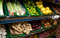 Various vegetables on display in grocery store