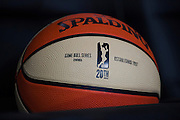 A WNBA 20th anniversary game ball given to the mothers of the Dallas Wings players sits in a seat during a WNBA preseason game in Arlington, Texas on May 8, 2016.  (Cooper Neill for The New York Times)