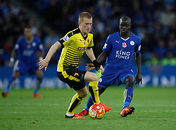 Ben Watson of Watford (L) and Ngolo Kante of Leicester City in action  - Mandatory byline: Jack Phillips/JMP - 07966386802 - 7/11/2015 - SPORT - FOOTBALL - Leicester - King Power Stadium - Leicester City v Watford - Barclays Premier League