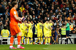 01.03.2015, Estadio Santiago Bernabeu, Madrid, ESP, Primera Division, Real Madrid vs FC Villarreal, 25. Runde, im Bild Vietto, Gerard, Campbell and Moi Gomez of Villarreal of Real Madrid // during the Spanish Primera Division 25th round match between Real Madrid CF and Villarreal at the Estadio Santiago Bernabeu in Madrid, Spain on 2015/03/01. EXPA Pictures © 2015, PhotoCredit: EXPA/ Alterphotos/ Caro Marin<br /> <br /> *****ATTENTION - OUT of ESP, SUI*****