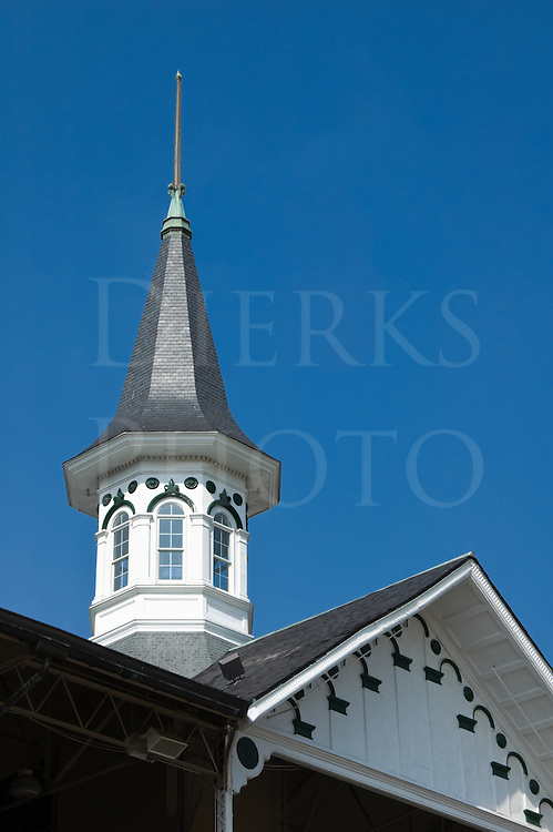 Picture of one of Churchill Downs famous landmark spires, the racetrack for the Kentucky Derby at Louisville, Kentucky, USA.