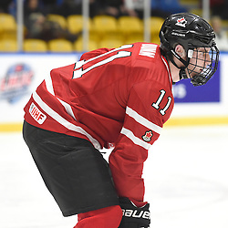 WHITBY, - Dec 13, 2015 -  WJAC Game 2- Team Switzerland vs Team Canada East at the 2015 World Junior A Challenge at the Iroquois Park Recreation Complex, ON. Sam Dunn #11 of Team Canada East during the second period.<br /> (Photo: Andy Corneau / OJHL Images)