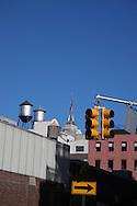 New York. traffic light and water tanks