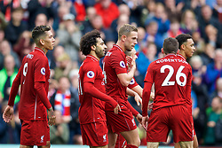 LIVERPOOL, ENGLAND - Saturday, September 22, 2018: Liverpool's Mohamed Salah (2nd from left) celebrates scoring the third goal with team-mates during the FA Premier League match between Liverpool FC and Southampton FC at Anfield. (Pic by Jon Super/Propaganda)