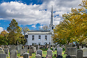 Town Common and United Congregational Church, Little Compton, Rhode Island, USA.
