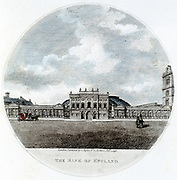 Façade of The Bank of England, London. Hand-coloured engraving 1796