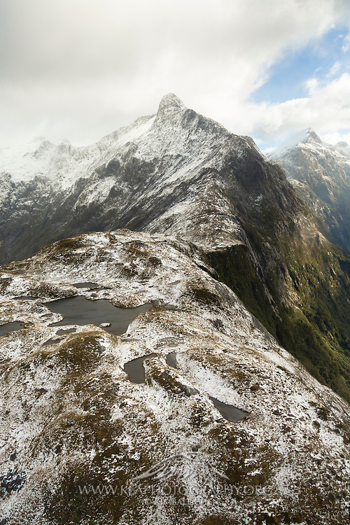 Snow on top of MacKinnon Pass, Milford Track.