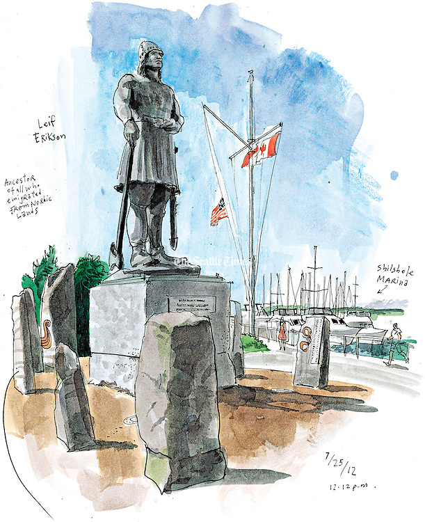 """The Leif Erikson statue at Shilshole Marina turned 50 in 2012. A gift from local Scandinavians, the 17-foot sculpture of the Viking explorer had a rough start. Deemed """"unexciting"""" by some city art officials, the monument wouldn't be here today if the Port of Seattle hadn't accepted it. (Gabriel Campanario / The Seattle Times)"""