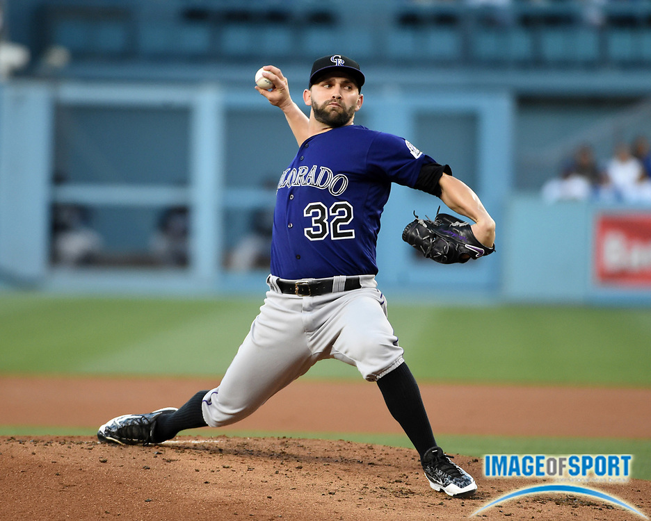 Jun 6, 2016; Los Angeles, CA, USA; Colorado Rockies starting pitcher Tyler Chatwood (32) delivers a pitch against the Los Angeles Dodgers during a MLB game at Dodger Stadium.