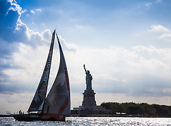 NEW YORK, NY - JUNE 22:  In this handout image provided by the Volvo Ocean Race, Team Alvimedica with American skipper Charlie Enright of Bristol, RI, arrive from Newport RI in New York, sailing by the Statue of Liberty and the Manhattan skyline. The team will formally name the boat in a public ceremony in Newport June 28. Starting from Alicante in Spain on October 04, 2014, the 38,739-nautical mile route includes stopovers in Cape Town (South Africa), Abu Dhabi (UAE), Sanya (China), Auckland (New Zealand), ItajaÌ (Brazil), Newport, RI,(USA), Lisbon (Portugal) and Lorient (France). A 24-hour pit-stop in The Hague is scheduled between France and the race finish in Sweden. The Volvo Ocean Race is the world's premier ocean yacht race for professional racing crews. (Photo by Daniel Forster/Team Alvimedica/go4image.com)