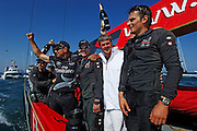 Emirates Team New Zealand MD Grant Dalton, Terry Hutchinson, Yves Carcelle, the President and CEO of Louis Vuitton and Dean Barker aboard NZL92 after their 5 - 0 win of the Louis Vuitton Cup finals. 6/6/2007