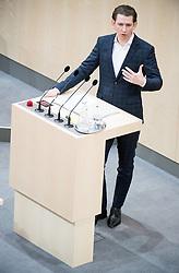01.03.2018, Hofburg, Wien, AUT, Parlament, Sitzung des Nationalrates beginnend mit einer Fragestunde an den Bundeskanzler, sowie zu den Themen Vorschlag für RichterIn am Verfassungsgerichtshof, Petitionen und Bürgerinitiativen, im Bild Bundeskanzler Sebastian Kurz (ÖVP) // Austrian Federal Chancellor Sebastian Kurz during meeting of the National Council of austria at Hofburg palace in Vienna, Austria on 2018/03/01, EXPA Pictures © 2018, PhotoCredit: EXPA/ Michael Gruber