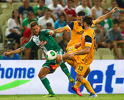 08.08.2013, Gerhard Hanappi Stadion, Wien, AUT, UEFA EL Qualifikation, SK Rapid Wien vs Asteras Tripolis, im Bild Guido Burgstaller, (SK Rapid Wien, #30), Savvas Tsambouris, (Asteras Tripolis, #11) und Giorgos Zisopoulos, (Asteras Tripolis, #13)  // during a UEFA Europa League Qualifier game between SK Rapid Vienna and Asteras Tripolis at the Gerhard Hanappi Stadion, Wien, Austria on 2013/08/08. EXPA Pictures © 2013, PhotoCredit: EXPA/ Thomas Haumer