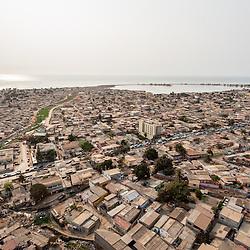 Vista aérea da cidade Luanda, capital de Angola. Bairro da Samba