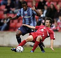 Photo: Jonathan Butler.<br /> Swindon Town v Charlton Athletic. The Carling Cup. 14/08/2007.<br /> Jose Semedo of Charlton fouls Craig Easton of Swindon.