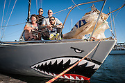 "J/24 sailboat ""Bite Me"" of Fleet 27, Columbia River, Portland, Oregon, with Anna Campagna, Phil Campagna, Josh Raymond and Andrew Haliburton."