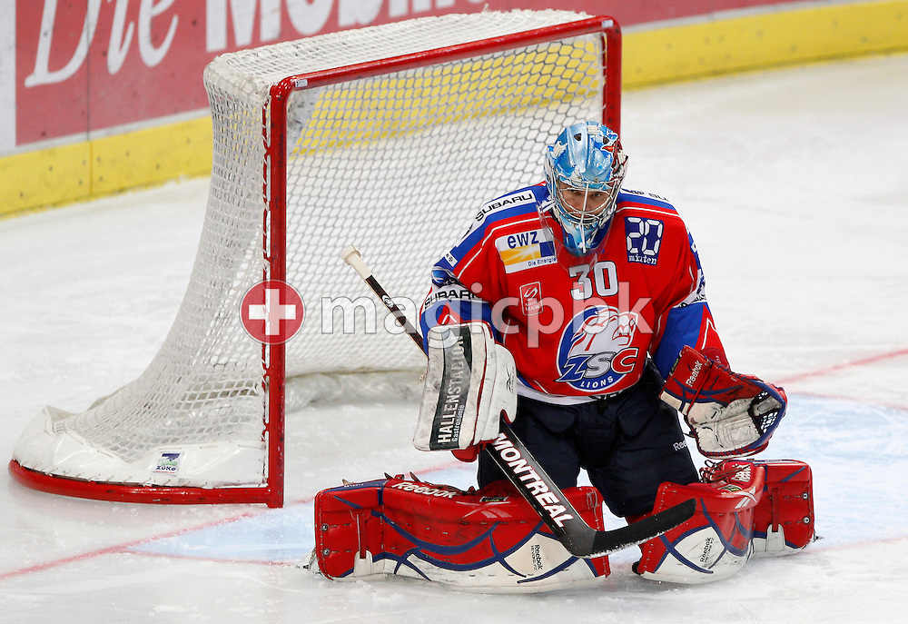 ZSC Lions goaltender Lukas FLUEELER is pictured during a National League A ice hockey game between ZSC Lions and Rapperswil-Jona Lakers held at Hallenstadion in Zurich, Switzerland, Sunday, Dec. 12, 2010. (Photo by Patrick B. Kraemer / MAGICPBK)