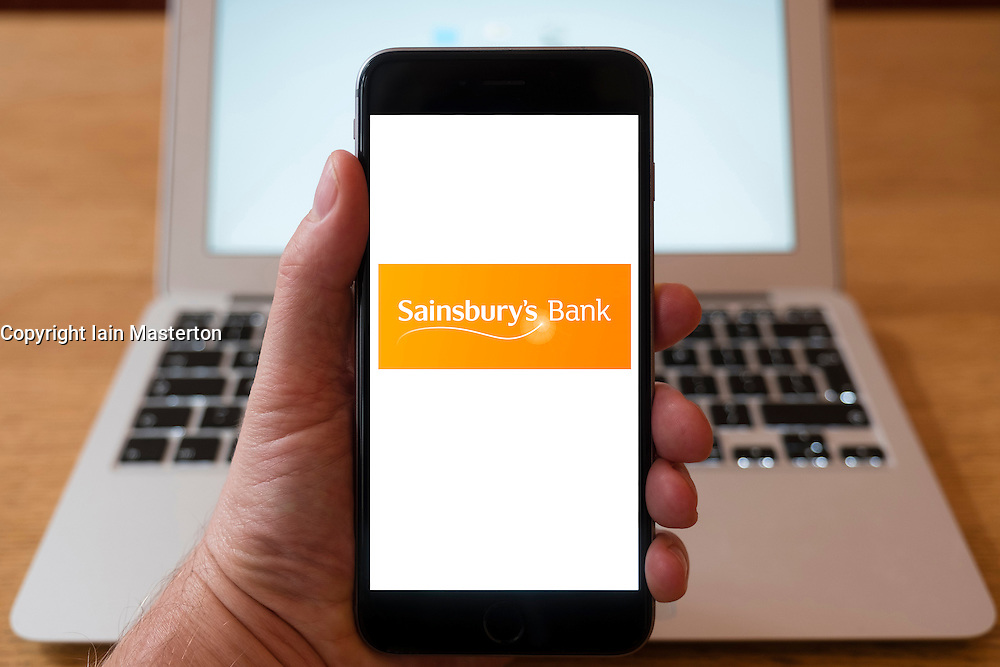 Using iPhone smart phone to display website logo of Sainsbury's Bank