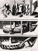 Corn mill powered by a horizontal water wheel through the gears in central section.The pipe, the wheel, the shafts, and the gearing all constructed from wood.  From 'Theatrum Machinarum Novum' by Georg Andreas Bockler (Nuremberg, 1673).