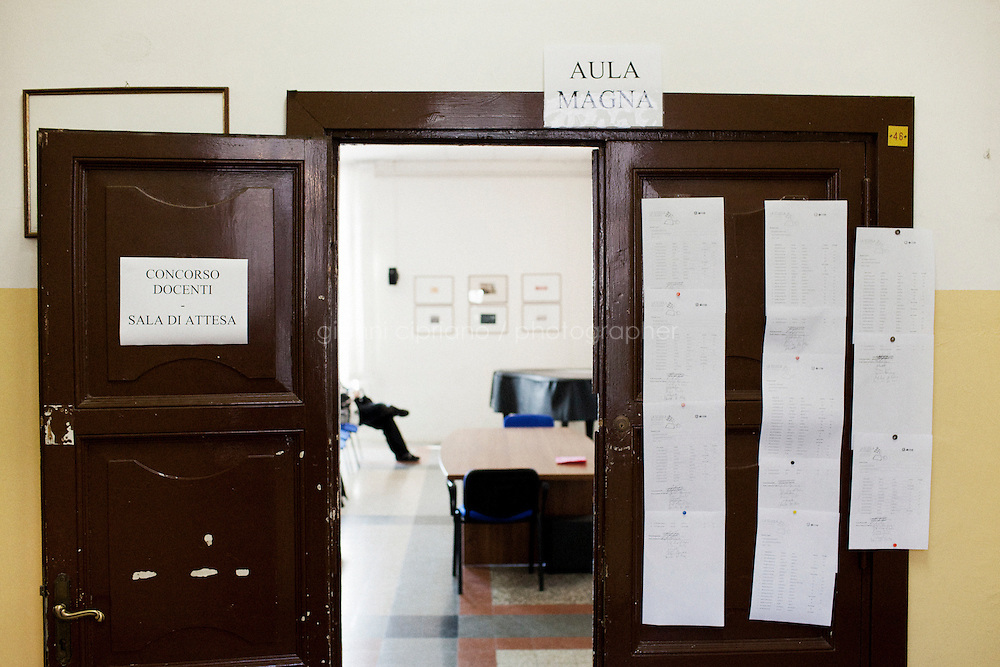 "Rome, Italy - 18 December, 2012:  A waiting room at the ""Marcello Malpighi"" high school where aspiring teacher wait their turn for the public pre-selection test in Rome, Italy, on 18 September, 2012. The public pre-selection tests for aspiring teachers, announced by the Italian Ministry of Education, took place on December 17th and 18th for the first time in 13 years. 321,210 candidates are competing for 11,542 available teaching jobs in primary schools, secondary schools and high schools all over Italy."