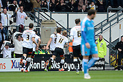 Derby County striker Chris Martin celebrates his goal during the Sky Bet Championship match between Derby County and Wolverhampton Wanderers at the iPro Stadium, Derby, England on 18 October 2015. Photo by Alan Franklin.
