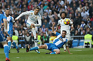 MADRID, SPAIN. January 21, 2018 - Cristiano Ronald shoots on goal. Doubles for Cristiano Ronaldo, Bale and Nacho, alongside Modric's sole strike, overturn Deportivo's early goal in a superb display of the Whites' firepower. Photos by Antonio Pozo | PHOTO MEDIA EXPRESS