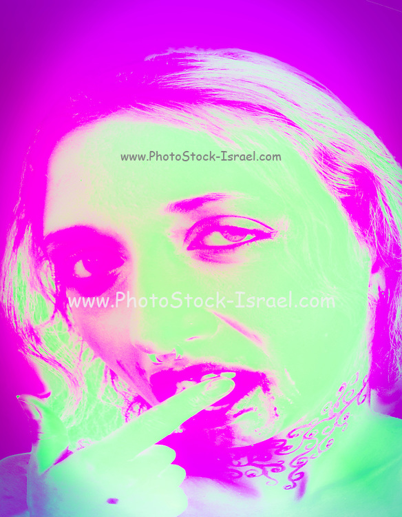 Vampire look with blood dripping from mouth, June 2006<br /> Model Released