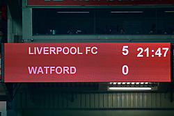 LIVERPOOL, ENGLAND - Wednesday, February 27, 2019: Liverpool's scoreboard records the 5-0 victory over Watford during the FA Premier League match between Liverpool FC and Watford FC at Anfield. (Pic by Paul Greenwood/Propaganda)