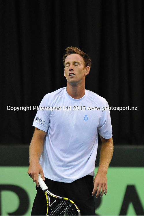 Michael Venus of New Zealand loses a point during the Davis Cup Tennis match, New Zealand v India, at The Z Energy Wilding Park Tennis Centre, Christchurch, New Zealand on the 17 July 2015. Copyright Photo: John Davidson / www.photosport.nz