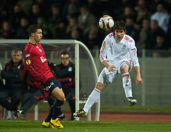 LILLE, FRANCE - Thursday, March 11, 2010: Liverpool's Emiliano Insua in action against LOSC Lille Metropole during the UEFA Europa League Round of 16 1st Leg match at the Stadium Lille-Metropole. (Photo by David Rawcliffe/Propaganda)