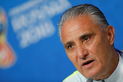 June 21, 2018 - Saint Petersburg, Russia - Brazil national team coach Tite attends a press conference during the FIFA World Cup 2018 on June 21, 2018 at Saint Petersburg Stadium in Saint Petersburg, Russia. (Credit Image: © Mike Kireev/NurPhoto via ZUMA Press)