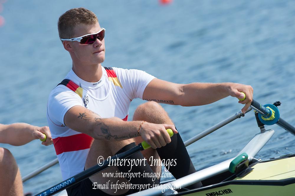 Hamburg. GERMANY.  Wed afternoon heats at the 2014FISA Junior World rowing. Championships.  15:34:42  Wednesday  06/08/2014  [Mandatory Credit; Peter Spurrier/Intersport-images] 2014. Empacher. Hamburg.